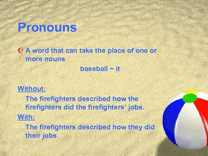 Pronouns Z A word that can take the place of one or more nouns