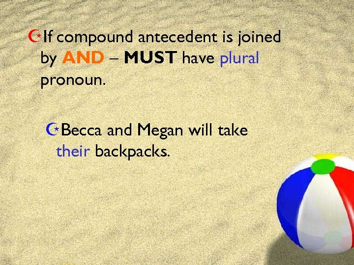 ZIf compound antecedent is joined by AND – MUST have plural pronoun. ZBecca and