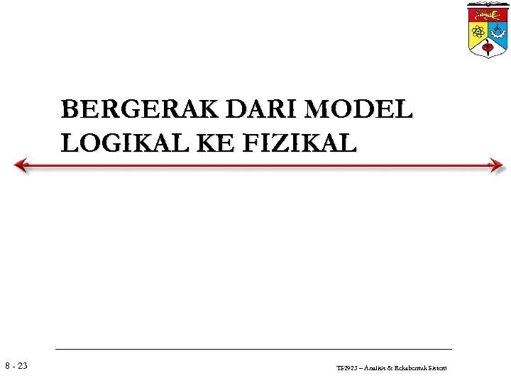 BERGERAK DARI MODEL LOGIKAL KE FIZIKAL 8 - 23 TS 2923 – Analisis &