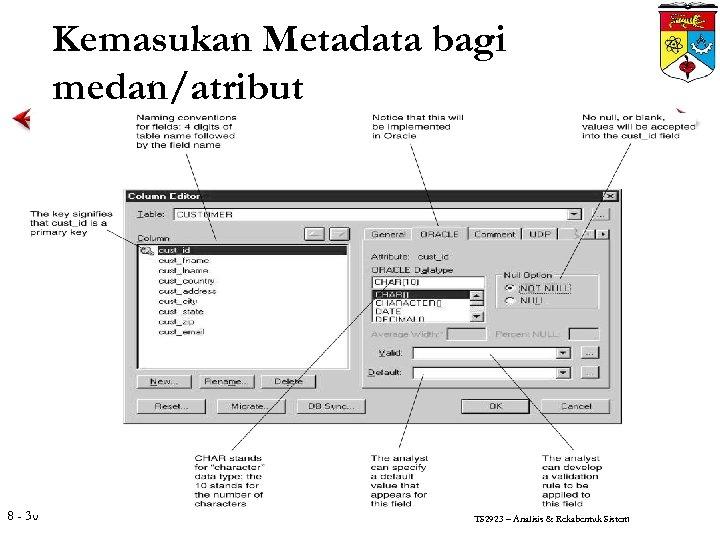 Kemasukan Metadata bagi medan/atribut 8 - 30 TS 2923 – Analisis & Rekabentuk Sistem