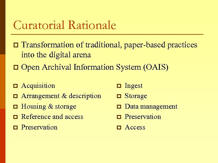 Curatorial Rationale Transformation of traditional, paper-based practices into the digital arena p Open Archival