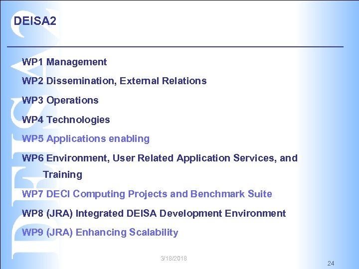 DEISA 2 WP 1 Management WP 2 Dissemination, External Relations WP 3 Operations WP