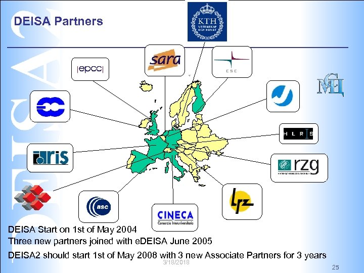 DEISA Partners DEISA Start on 1 st of May 2004 Three new partners joined