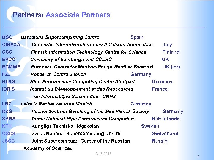 Partners/ Associate Partners BSC Barcelona Supercomputing Centre Spain CINECA Consortio Interuniversitario per il Calcolo