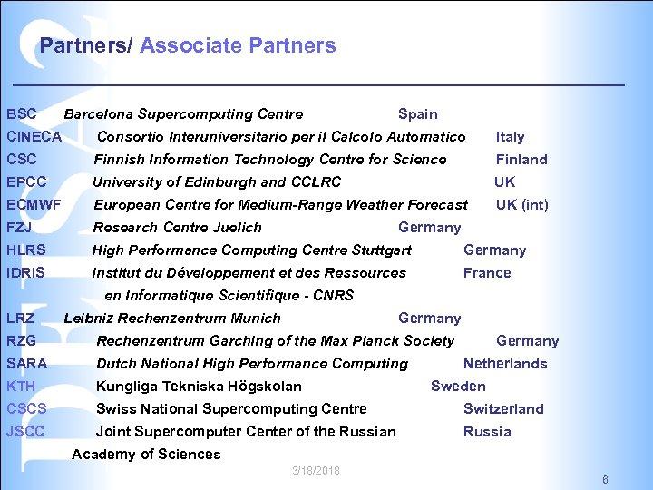 Partners/ Associate Partners BSC Barcelona Supercomputing Centre Spain CINECA Consortio Interuniversitario per il Calcolo