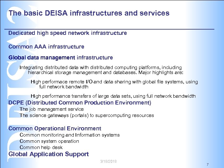 The basic DEISA infrastructures and services Dedicated high speed network infrastructure Common AAA infrastructure