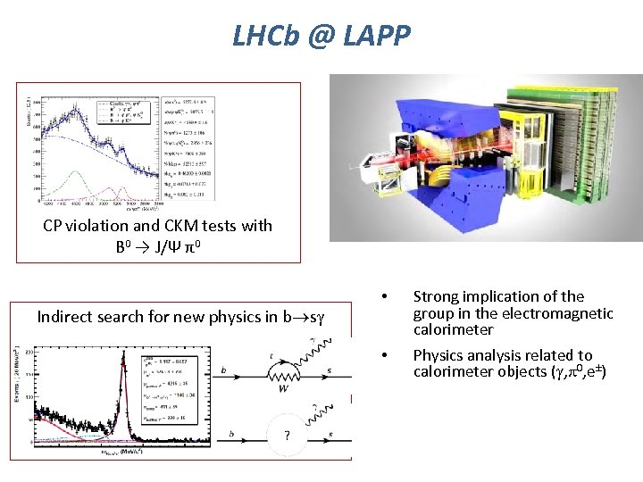 LHCb @ LAPP CP violation and CKM tests with B 0 → J/Ψ π0