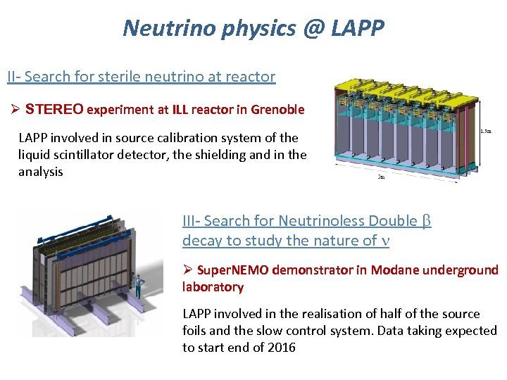 Neutrino physics @ LAPP II- Search for sterile neutrino at reactor Ø STEREO experiment