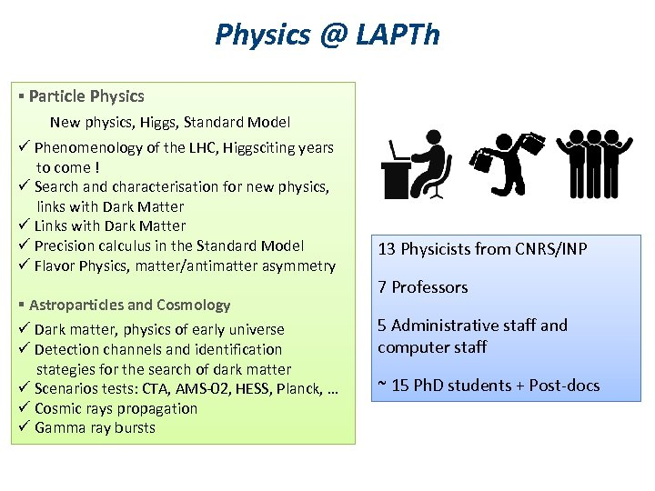 Physics @ LAPTh § Particle Physics New physics, Higgs, Standard Model ü Phenomenology of
