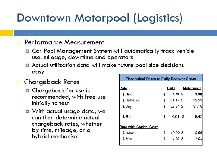 Downtown Motorpool (Logistics) Performance Measurement Car Pool Management System will automatically track vehicle use,