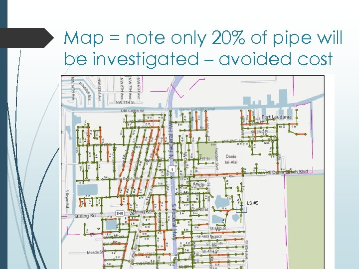 Map = note only 20% of pipe will be investigated – avoided cost
