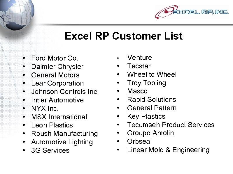 Excel RP Customer List • • • Ford Motor Co. Daimler Chrysler General Motors