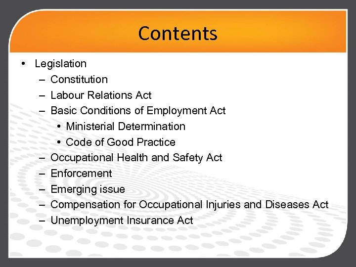 Contents • Legislation – Constitution – Labour Relations Act – Basic Conditions of Employment