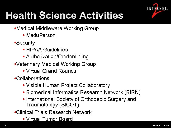 Health Science Activities • Medical Middleware Working Group • Medu. Person • Security •
