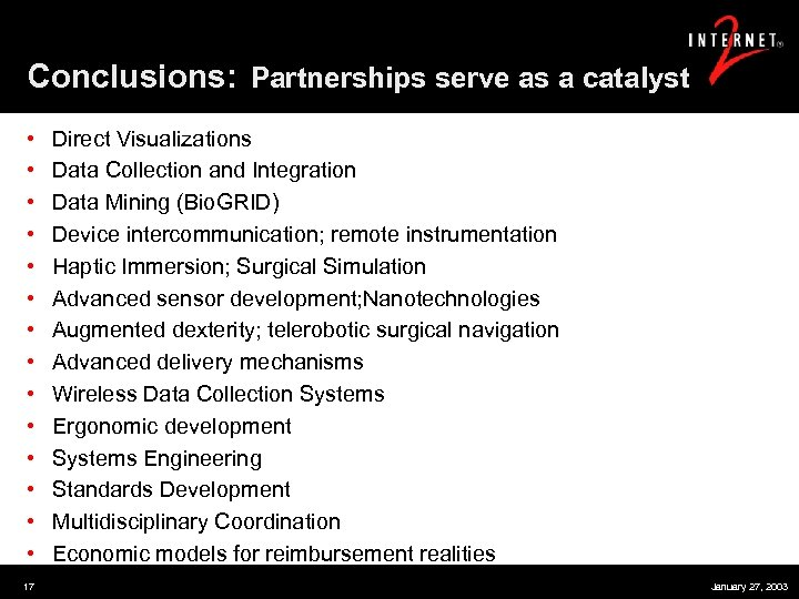 Conclusions: Partnerships serve as a catalyst • • • • 17 Direct Visualizations Data