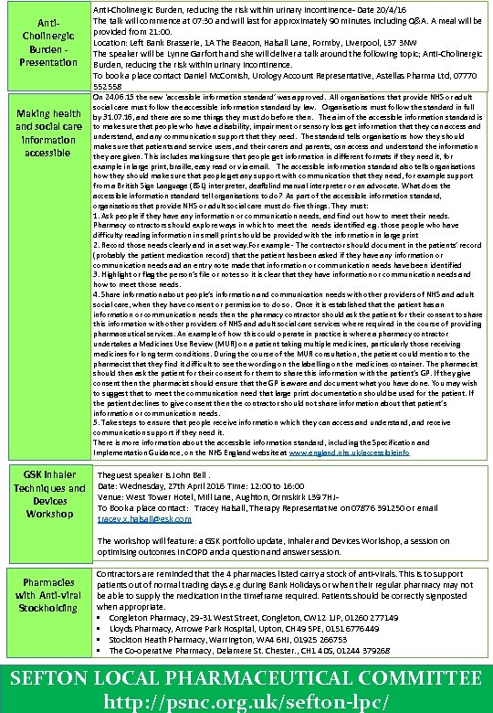 Anti. Cholinergic Burden - Presentation Making health and social care information accessible GSK Inhaler