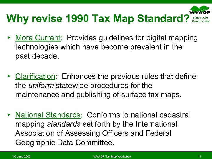 New Tax Map Standard for Maintenance and Publishing Digital Tax Map on