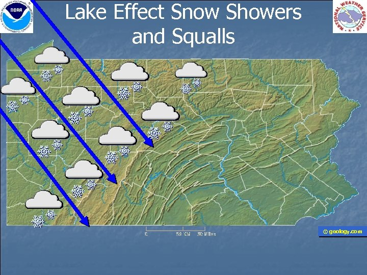 Lake Effect Snow Showers and Squalls © geology. com