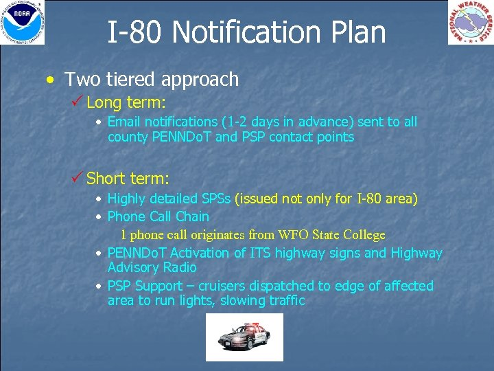 I-80 Notification Plan • Two tiered approach P Long term: • Email notifications (1