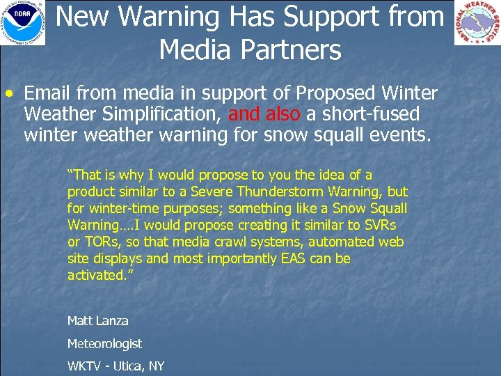 New Warning Has Support from Media Partners • Email from media in support of