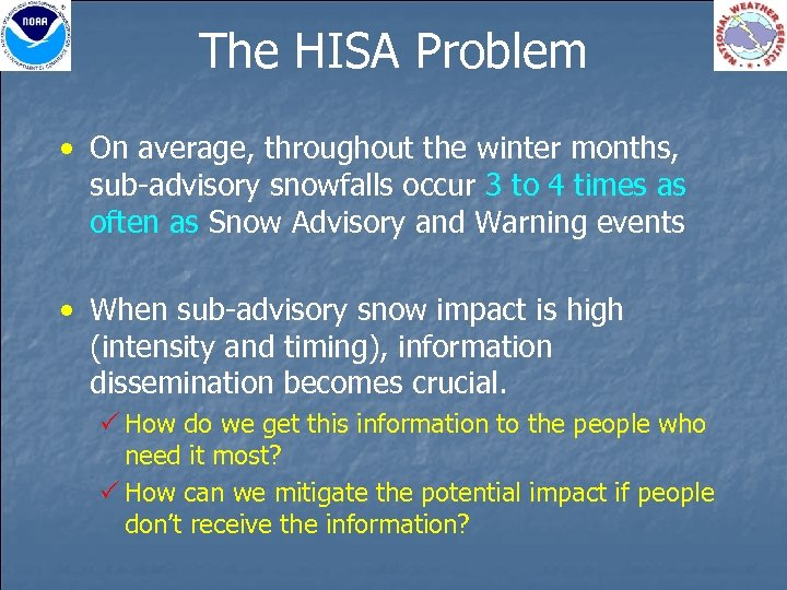The HISA Problem • On average, throughout the winter months, sub-advisory snowfalls occur 3