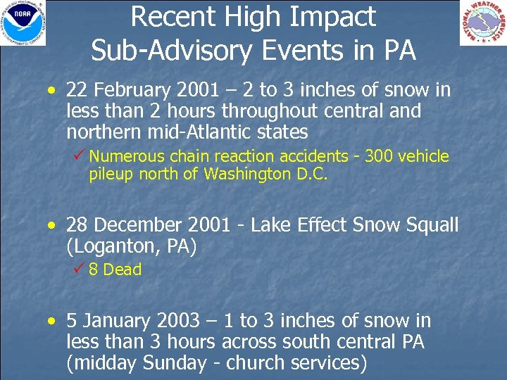 Recent High Impact Sub-Advisory Events in PA • 22 February 2001 – 2 to