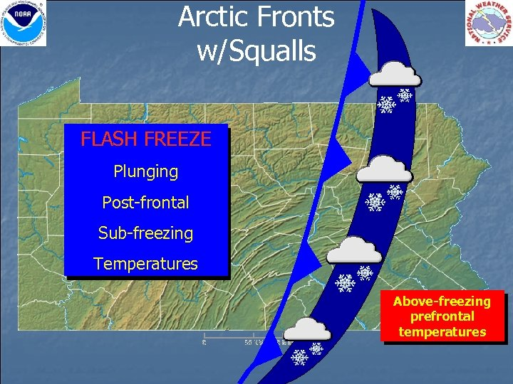 Arctic Fronts w/Squalls FLASH FREEZE Plunging Post-frontal Sub-freezing Temperatures Above-freezing prefrontal temperatures
