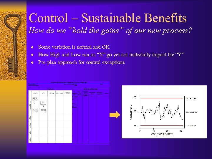 "Control – Sustainable Benefits How do we ""hold the gains"" of our new process?"