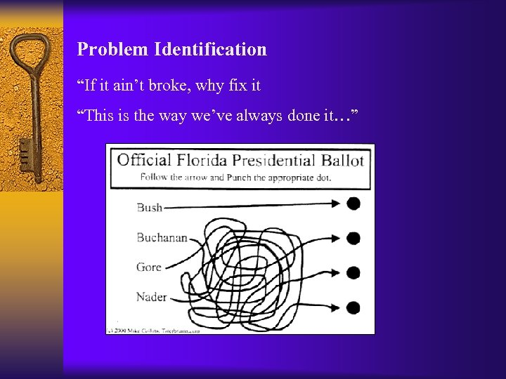 """Problem Identification """"If it ain't broke, why fix it """"This is the way we've"""