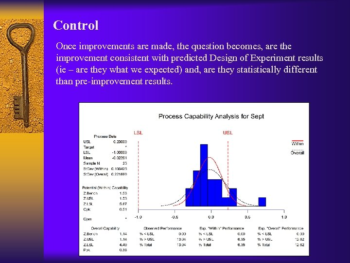 Control Once improvements are made, the question becomes, are the improvement consistent with predicted