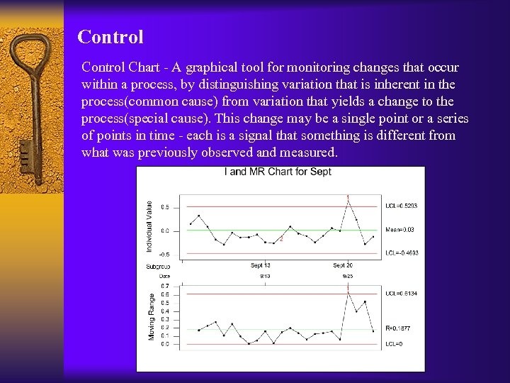 Control Chart - A graphical tool for monitoring changes that occur within a process,