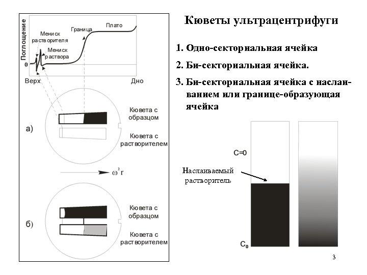 Кюветы ультрацентрифуги 1. Одно-секториальная ячейка 2. Би-секториальная ячейка. 3. Би-секториальная ячейка с наслаиванием или