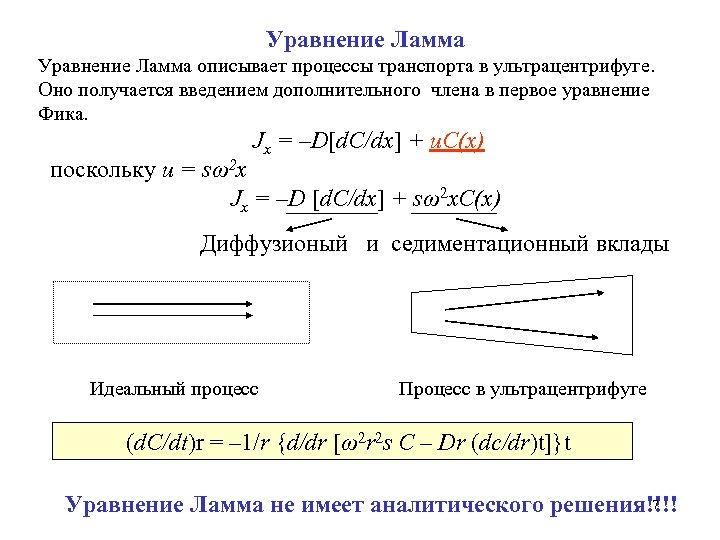 Уравнение Ламма описывает процессы транспорта в ультрацентрифуге. Оно получается введением дополнительного члена в первое