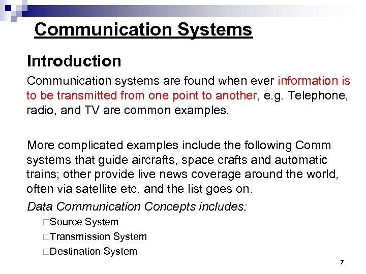 Prerequisites Data Communications Networks Communication