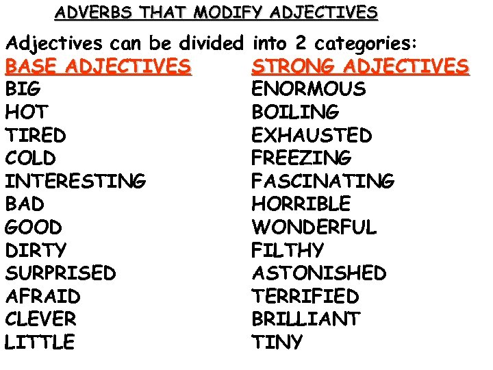 ADVERBS THAT MODIFY ADJECTIVES Adjectives can be divided BASE ADJECTIVES BIG HOT TIRED COLD