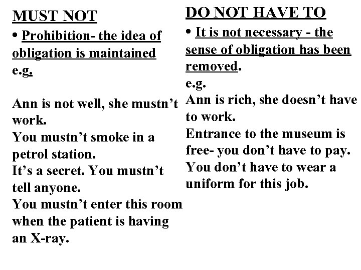 MUST NOT • Prohibition- the idea of DO NOT HAVE TO • It is
