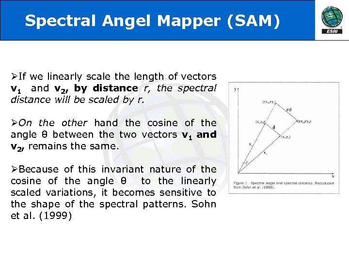 Spectral Angel Mapper (SAM) ØIf we linearly scale the length of vectors v 1