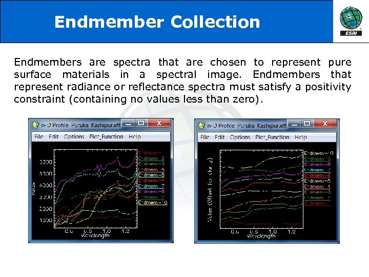 Endmember Collection Endmembers are spectra that are chosen to represent pure surface materials in