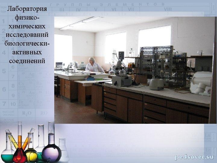 Лаборатория физикохимических исследований биологическиактивных соединений