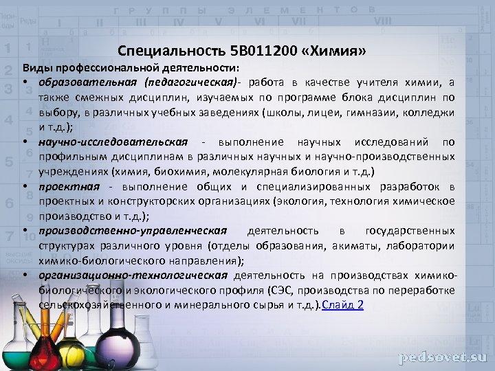 Специальность 5 В 011200 «Химия» Виды профессиональной деятельности: • образовательная (педагогическая)- работа в качестве