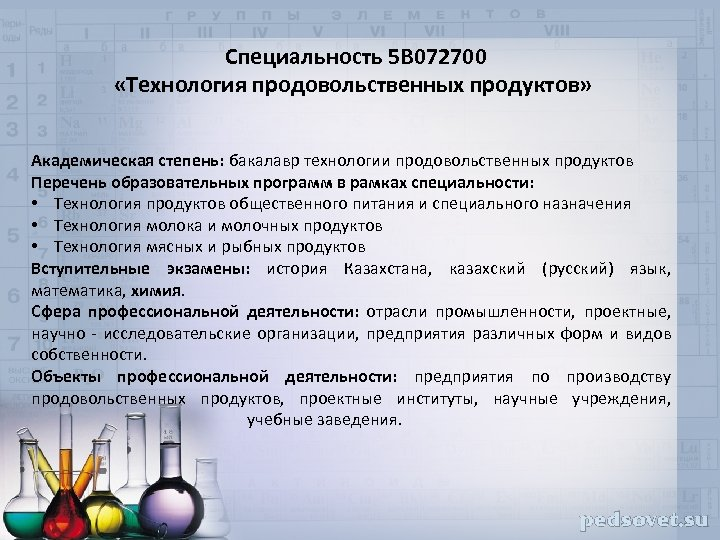 Специальность 5 В 072700 «Технология продовольственных продуктов» Академическая степень: бакалавр технологии продовольственных продуктов