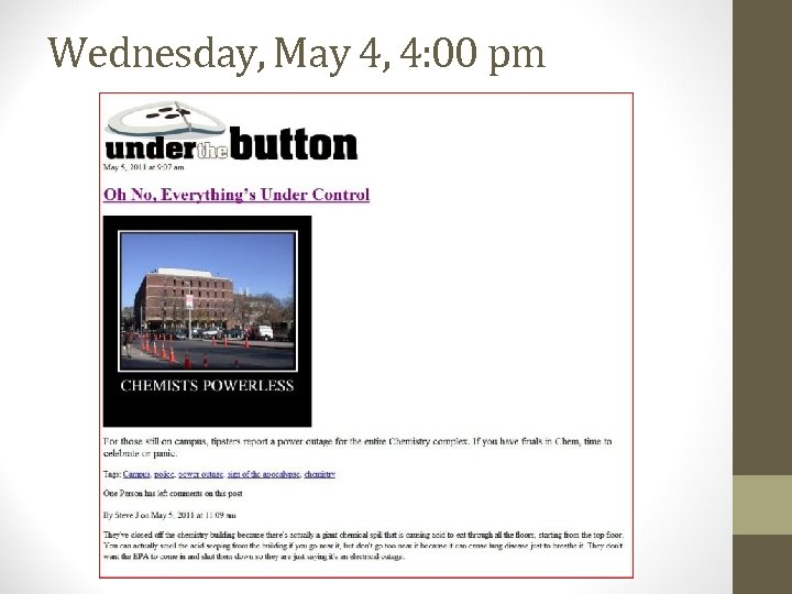 Wednesday, May 4, 4: 00 pm