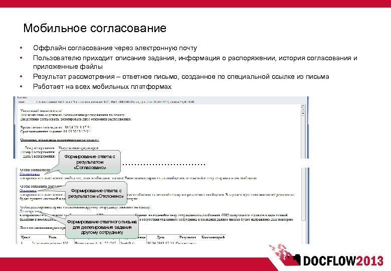 Мобильное согласование • • Оффлайн согласование через электронную почту Пользователю приходит описание задания, информация