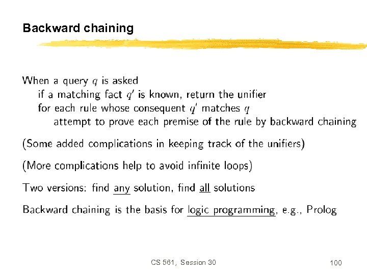 Backward chaining CS 561, Session 30 100