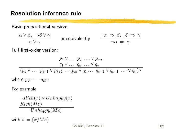 Resolution inference rule CS 561, Session 30 102