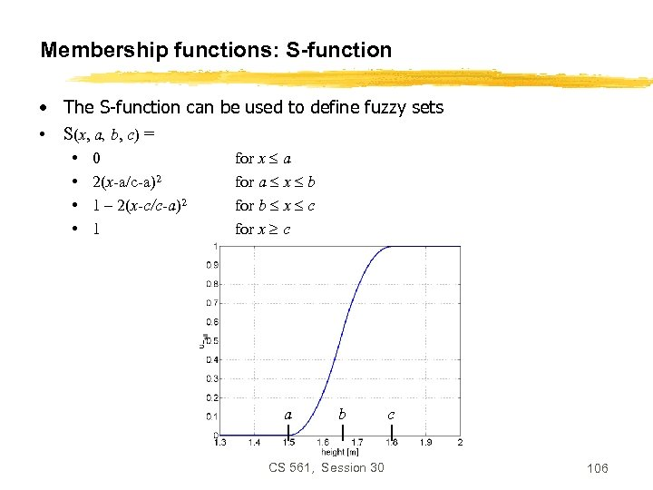 Membership functions: S-function • The S-function can be used to define fuzzy sets •