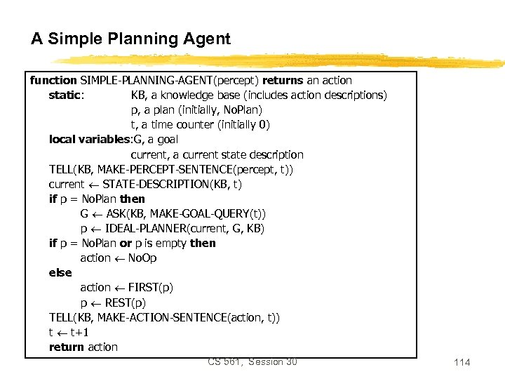 A Simple Planning Agent function SIMPLE-PLANNING-AGENT(percept) returns an action static: KB, a knowledge base