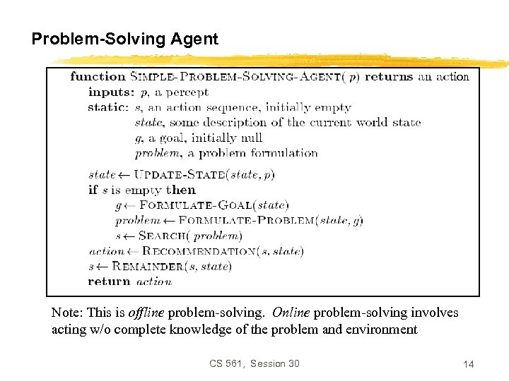 Problem-Solving Agent tion Note: This is offline problem-solving. Online problem-solving involves acting w/o complete
