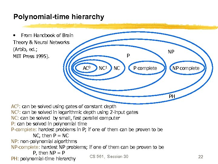 Polynomial-time hierarchy • From Handbook of Brain Theory & Neural Networks (Arbib, ed. ;
