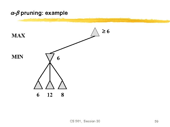 - pruning: example 6 MAX MIN 6 6 12 8 CS 561, Session